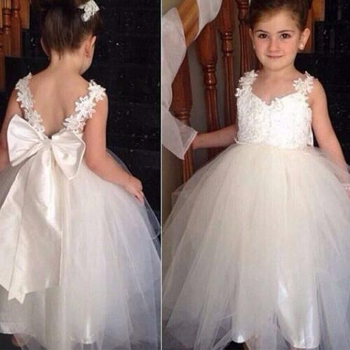 New Lace White Princess Girls Dress Tulle Bridesmaid Wedding Party Kids Clothes
