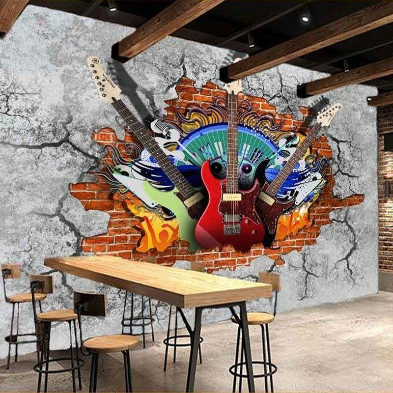 3D Music Guitar Graffiti Wall Mural Wallpaper Bedroom Bar Club Lounge Cafe