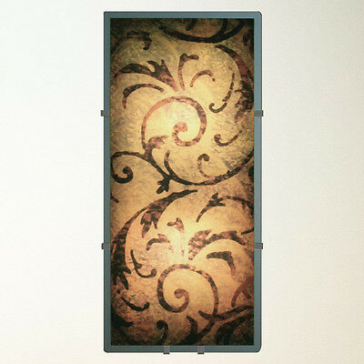 Tuscan Scroll Wall Sconce Light - Decorative Glass Art Mirror Metal Lamp - 8822