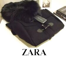 ZARA Navy Wool Duffle Coat With Faux Fur Collar Jacket Extra Small XS Hooded