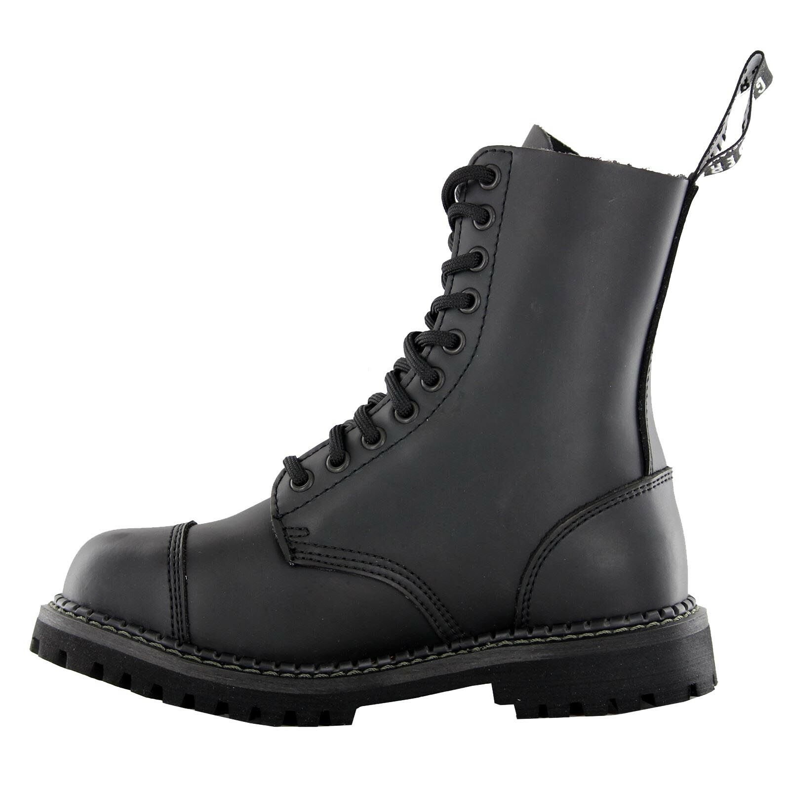 Hombres Mujers Grinders Stag Negro Lace Up New Leather Combat Uniform botas New Up ff1585