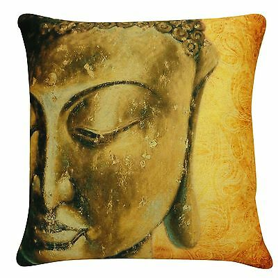 Indian Pillow Lord Buddha Home Decor Throw Velvet Bed Cushion Cover 16""