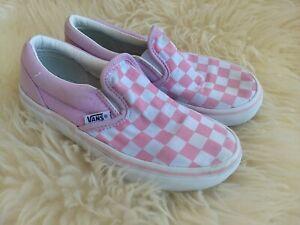 kids pink checkerboard vans