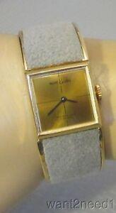 60s vtg designer MARCEL BOUCHER CLAMPER WATCH mod gray suede bracelet 17J RUNS