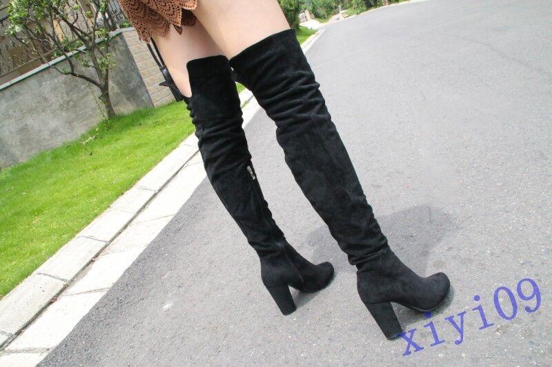 New Donna Winter Warm Suede Block Heels Over Knee Boots Round Toe Side Zipper