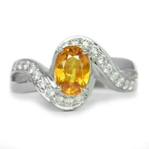 7x5mm Natural Orangey Yellow Sapphire Ring in 925 Silver