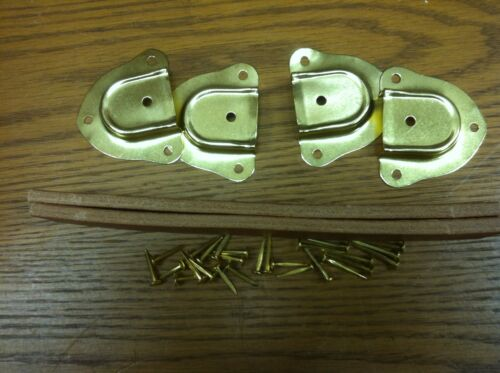 """4 Metal end caps /& fasteners-I Antique Trunk Hardware-Two 9/"""" Leather Handles"""