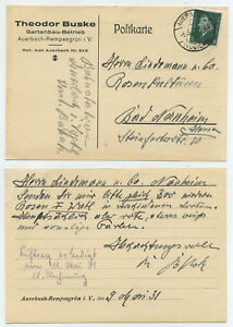 53252-Postkarte-Theodor-Buske-Gartenbau-Auerbach-Vogtland-9-5-1931