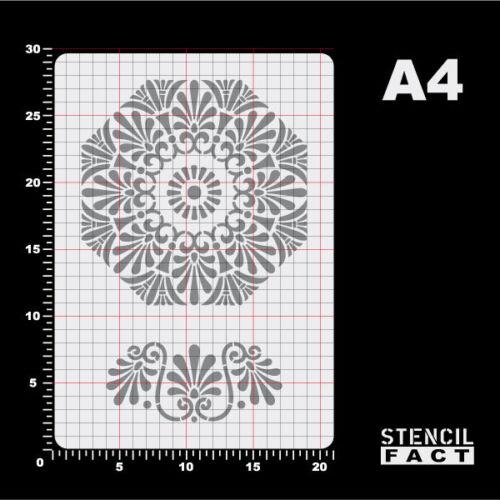 A4 Schablone Palmette Rosette 2 Ornamente Floral BO479