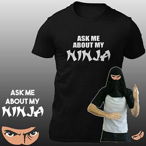 Ask-Me-About-My-Ninja-Disguise-Kids-Fancy-Dress-T-shirt-Men-Funny-Eyes-Flip-Tee