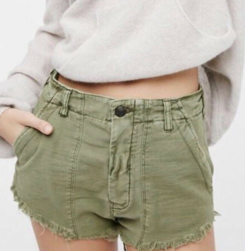 Free People Raw & Patched Standoff Shorts Moss Green Size 4 New