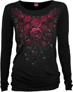 Spiral-Direct-BLOOD-ROSE-Baggy-Top-Black-Blood-Gothic-Roses-Ladies-Women-Girls