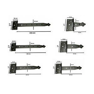 2-x-Tee-Hinges-Black-Decorative-Heavy-Duty-Strap-T-Hinge-Door-Gate-Shed