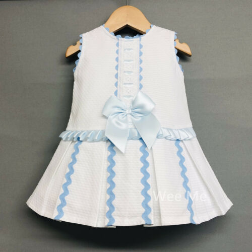 *SALE* Gorgeous Wee Me Baby Girl Spanish Drop Waist Dress with Bow Pink Blue