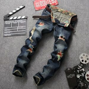 New-Men-039-s-Long-Floral-Jeans-Slim-Fit-Casual-Denim-Pants-Straight-Leg-Trousers