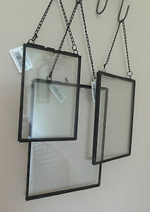 black metal glass hanging floating picture photo frame 6x4 7x5 8x6