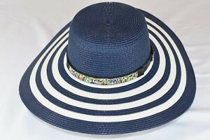 6bdc3ad69 Details about Womens Straw Casual Beach Hat Blue with White Stripes new w/o  Tags