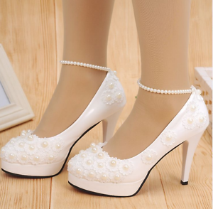 Wedding Shoes With Pearls | White Lace Wedding Shoes Pearls Ankle Trap Bridal Flats Low High