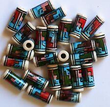 25 Keramik Perlen: 15 mm blau braun rot grün Rasta Indianer Schmuck basteln Peru