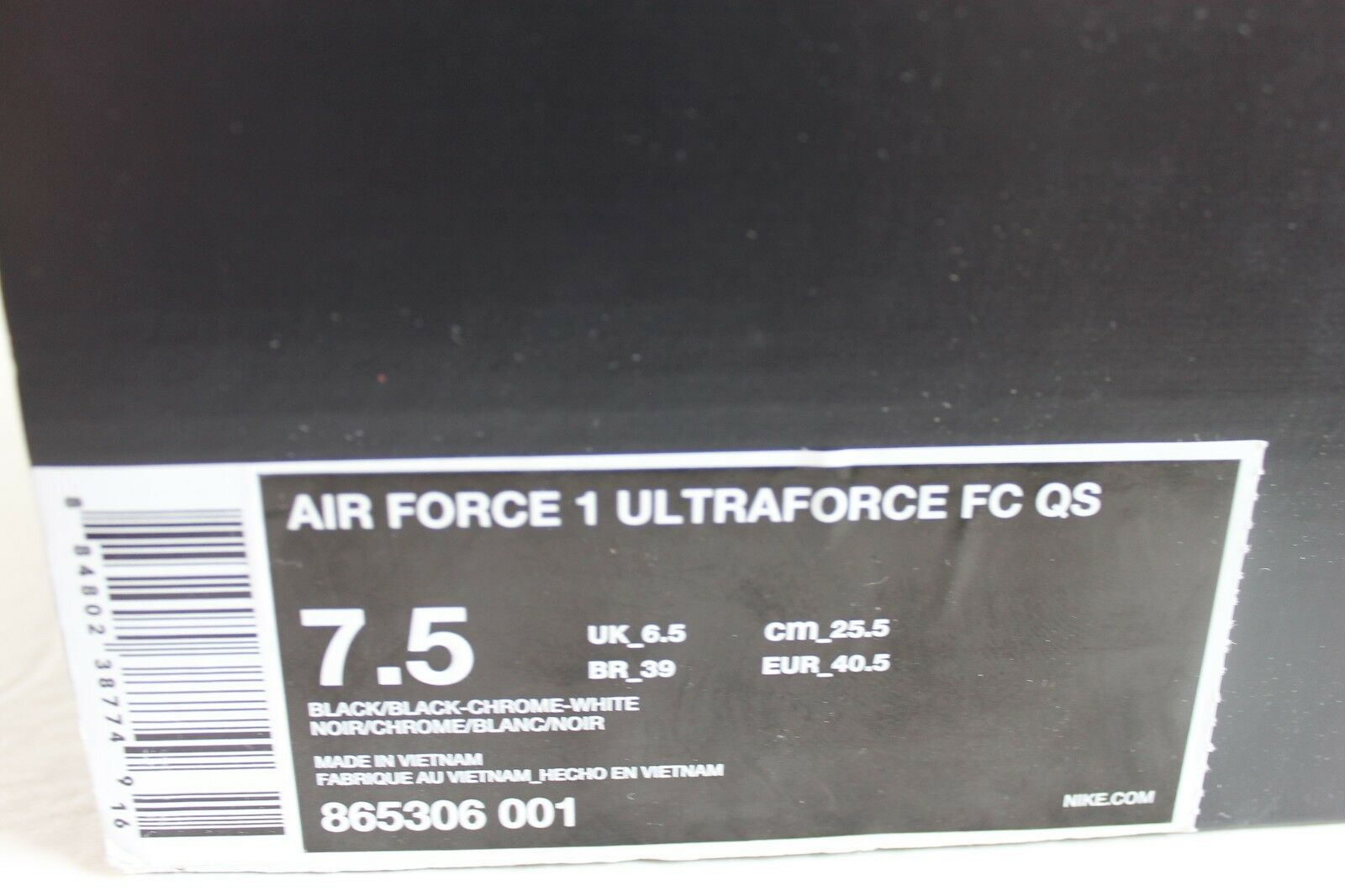 NIKE AIR FORCE 1 ULTRAFORCE FC QS BLACK-CHROME-WHITE SZ 7.5 [865306-001]