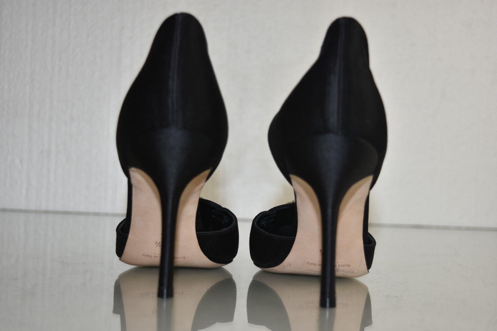 Neuf Manolo Blahnik Dorsay Denis Perles Perles Perles Orné Satin Noir Chaussures Plates 38.5 ea2464