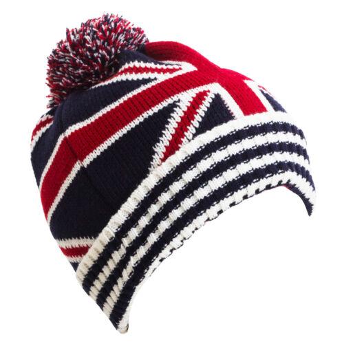 Cappello unisex cuffia pom pon bandiere USA UK caldo invernale nuovo CP1721