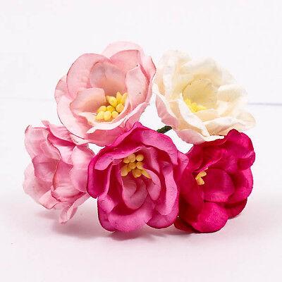Pink Tone Poppies Mulberry Paper Flower Craft Handmade Wedding Card 40mm A1211