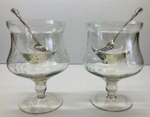 Vintage-Pair-Etched-Glass-Shrimp-Cocktail-Footed-Goblets-W-Inserts-amp-Forks