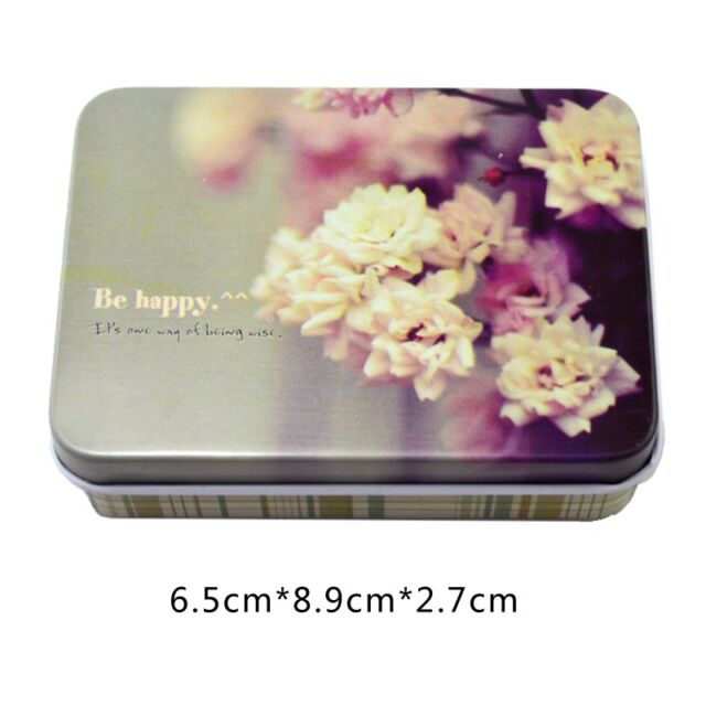 Small Storage Jars Rectangular Iron Tin Gift Jewelry Box Holder Home Decoration