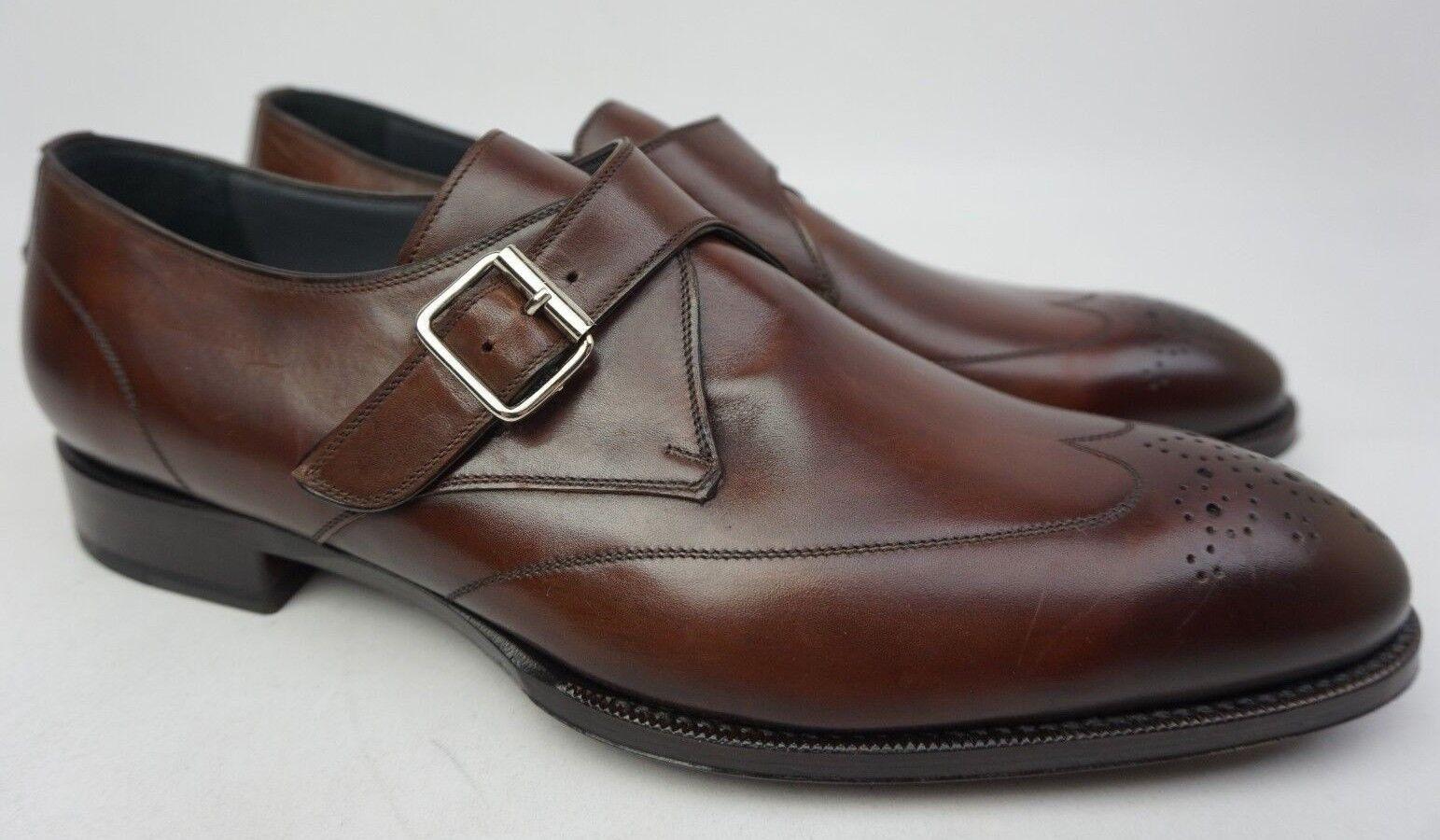 shoes Di Bianco Premium Brown Single Monk Strap Wingtip shoes Size 13 D
