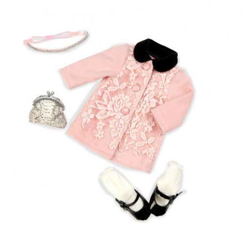 Our generation-Outfit Deluxe-MANTEL Rosé con pizzo e paillettes Borsetta