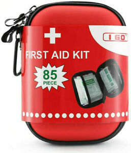 Compact First Aid Kit - Hard Shell Case Hiking, Camping, , Car - 85 Pieces