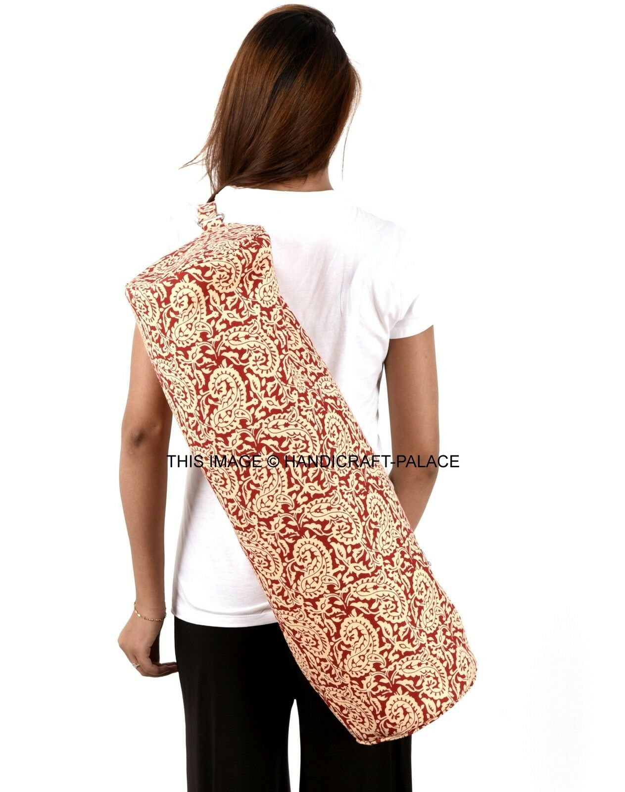 Maroon Paisley Yoga & Pilates Mat Bag with Carry Strap Indian Adjustable Strap
