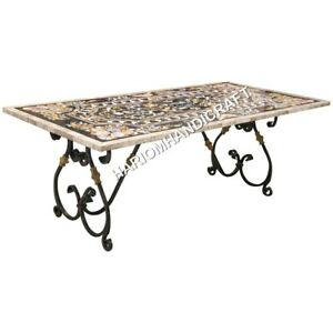 5 X3 Marble White Dining Table Top Precious Inlay Decorative