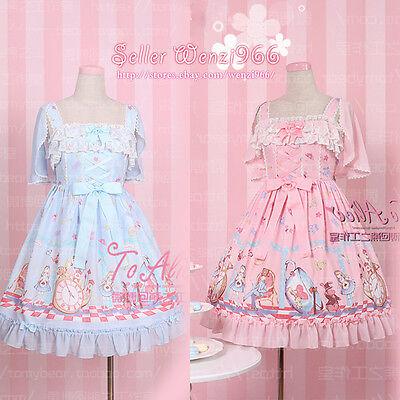 Kawaii Sweet Lolita Vintage Japanese Harajuku Fairytale Princess Lace Bow Dress