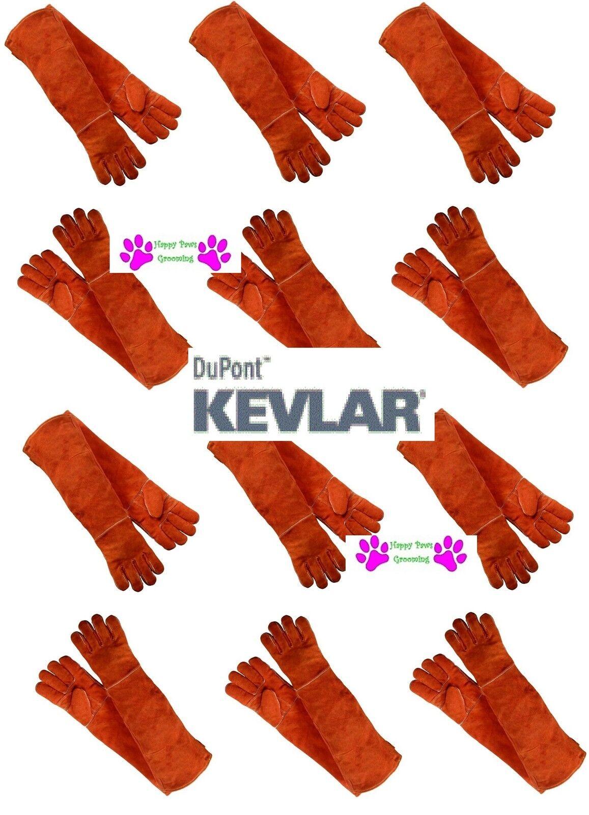 12 Pair Cuoio con Kevlar Animale Maneggiare Guanti Braccio Lungo