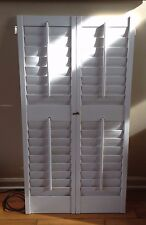 "45"" T x 24"" VTG Colonial Wood Interior Louver Plantation Window Shutters"
