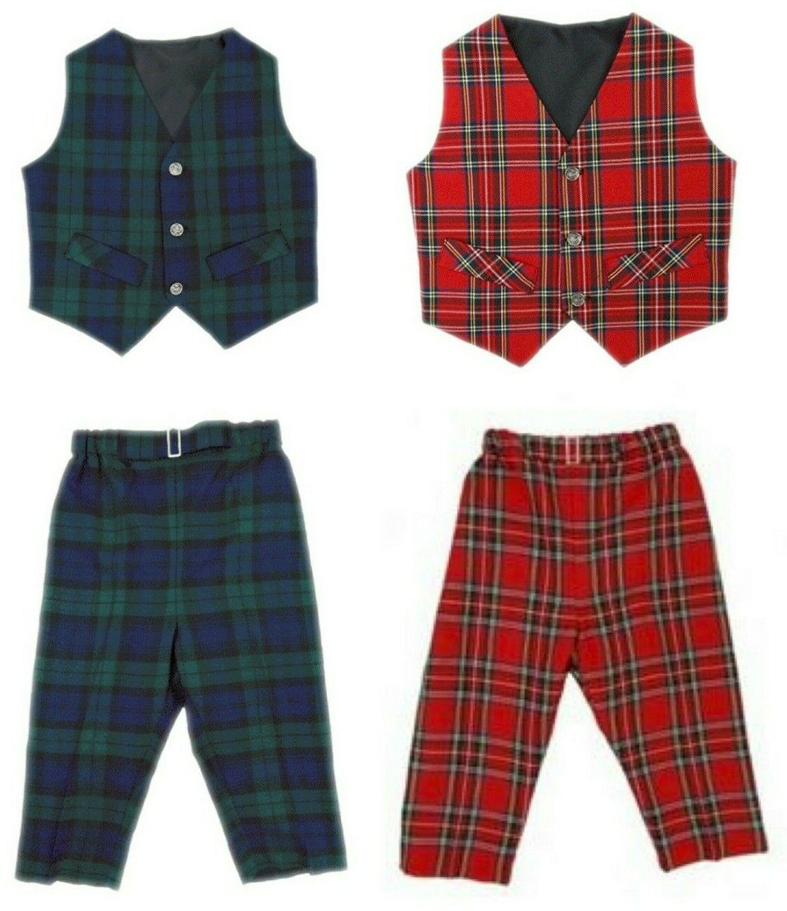 Children's Traditional Scottish Tartan Whole Set (Waistcoat and Trousers) New