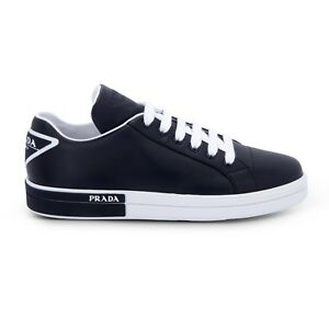 Image is loading Women-039-s-Prada-Trainers-Black-Leather-Sneakers- f7a69d1c5