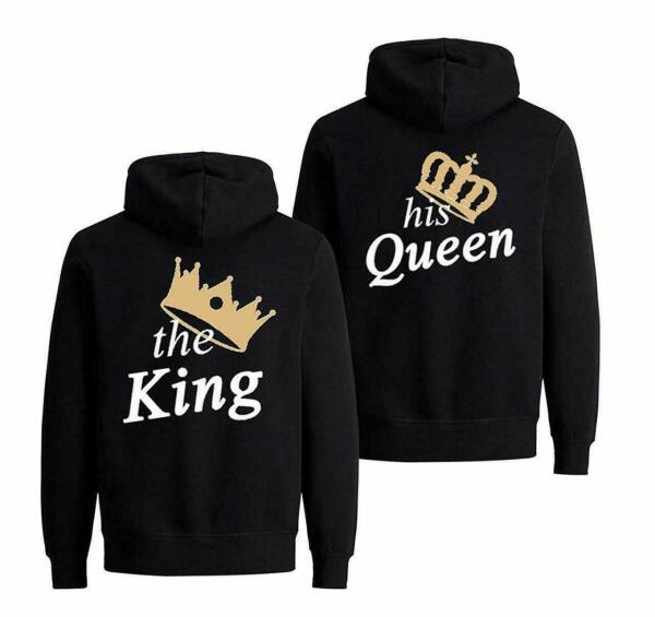"Partner Hoodie Set ""The King His Queen Krone"" Pärchen Pullover Mr Mrs Paar Front"