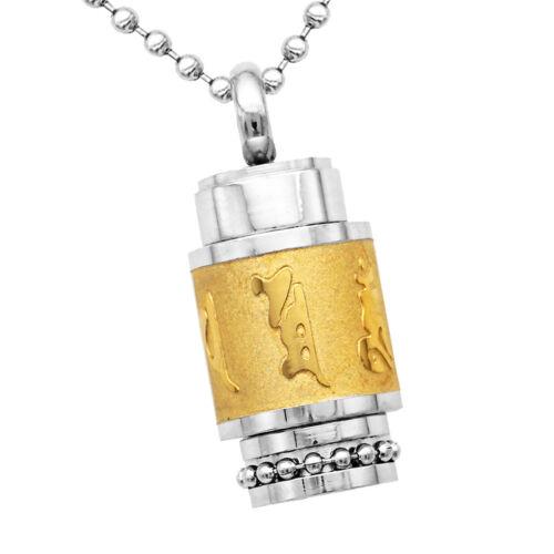 Stainless Steel Buddhism Sanskrit Mantra Pray Urn Pendant Necklace Jewelry