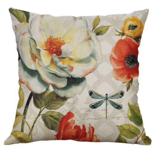 Peony Print Cotton Linen Sofa Waist Cushion Cover Pillow Case Home Decor