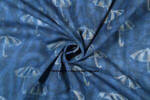 10-yard-Indigo-Blue-Hand-Block-Print-100-Cotton-Fabric-Printed-Blue-Dabu-Fabric