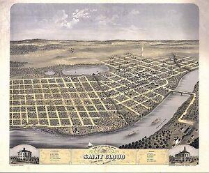 1869 SAINT CLOUD old MINNESOTA map GENEALOGY atlas poster STEARNS county MN 25
