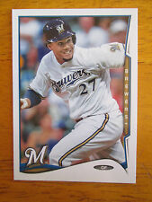 Rare! 2014 TOPPS - ERROR - NO NAME - NO FOIL - Carlos Gomez #588 Brewers