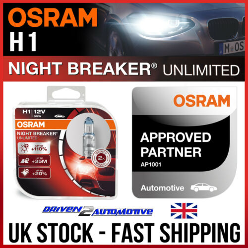 2x OSRAM Night Breaker UNLIMITED H1 Headlight Bulbs Duo OSRAM APPROVED PARTNER