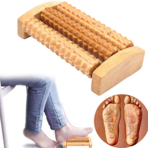 Handheld Wooden Roller Massager Reflexology Hand Foot Back Body Therapy Relax WQ