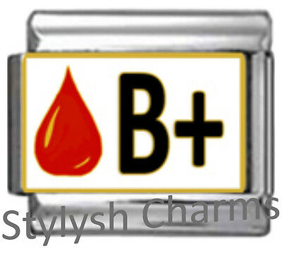 BLOOD GROUP TYPE B+ Enamel Italian Charm 9mm Link- 1x MA012 Single Bracelet Link