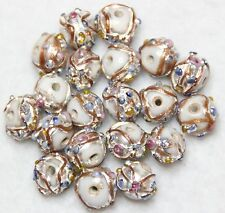 20 INDIAN FANCY LAMPWORK BEADS WHITE 8mm ROUND (BBB523)