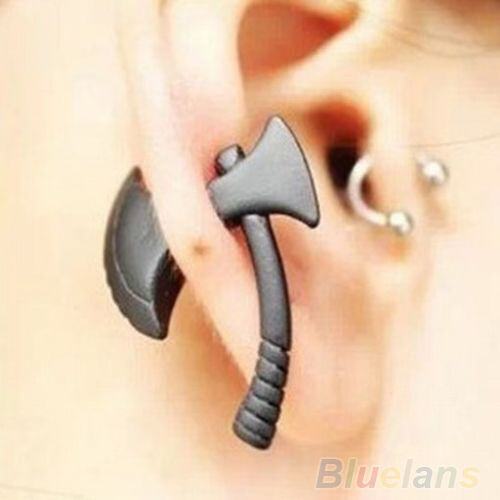 1Pc Punk Cool Black Ax/ Hatchet Mens Womens Stud Earring Piercing Jewelry BD4U